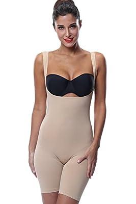 Franato Women's Seam Free Open-bust Bodysuits Mid-thigh shapewear Wear-Your-Bra Body Shaper