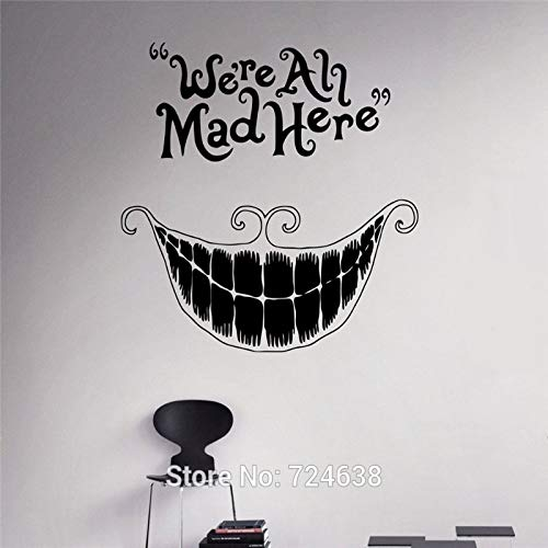 Wandtattoo Zitat Cheshire Cat Sprüche Wir sind alle Hier wütend Vinyl Aufkleber Kinderzimmer Wandtattoo Home D Pink 71 x 71 cm
