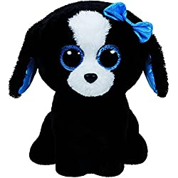 TY - Beanie Boos Tracey, perrita, 15 cm, color negro / blanco (United Labels Ibérica 37191TY)