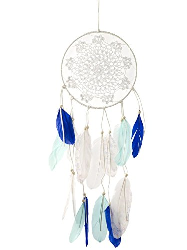 Montemaggi Dreamcatcher Circle h?keln Federn Blau Tone 20X0,5X67 cm