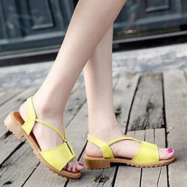 LvYuan Damen-Sandalen-Kleid Lässig-PU-Niedriger Absatz-Komfort D'Orsay und Zweiteiler-Schwarz Gelb Weiß Yellow