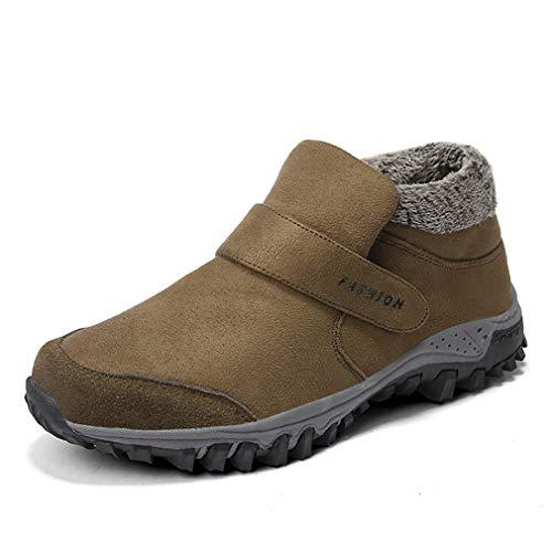 YAN Herrenschuhe Winter Schnee Stiefel Knöchelstiefel Velcro Warme High-Top-Casual-Schuhe Trail Laufschuh Wanderschuhe Tägliche Schuhe,B,43 -