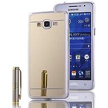 MOONCASE Galaxy Grand Prime G530 Funda, Slim Carcasa con Efecto Espejo Suave TPU Silicona Cubierta para Samsung Galaxy Grand Prime G530 (Oro)