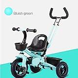 Kinder Dreirad Fahrrad 2-5 Jahre alt Kind Baby Kind Auto Baby Licht Trolley, Push-and-Ride-Dual-Use (Farbe : Blau)