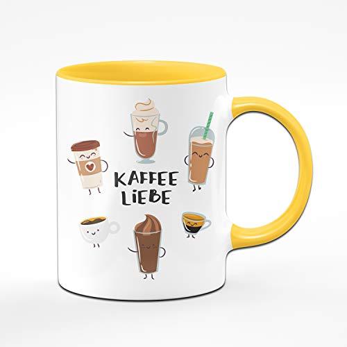 Tassenbrennerei Tasse mit Spruch Kaffee Liebe Cappuccino, Latte Macchiato, Milchkaffee - Süße Kaffeetasse ALS Bürotasse, Tassen mit Sprüchen (Gelb)