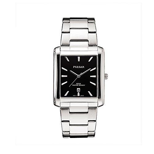 Pulsar pg8267Unisex Dial de plata banda de acero inoxidable negro cuarzo reloj