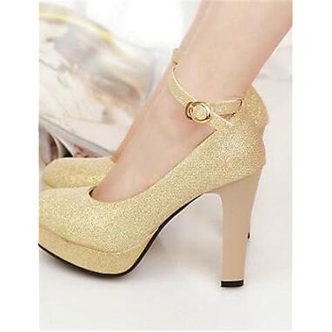 LFNLYX Zapatos de mujer-Tacón Stiletto-Tacones-Tacones-Boda / Fiesta y Noche-Sintético-Negro / Rojo / Blanco / Oro , golden , us8 / eu39 / uk6 / cn39
