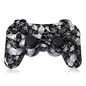 PS3 controller wireless double shock controller per Playstation 3 con cavo di ricarica (modello Skull)