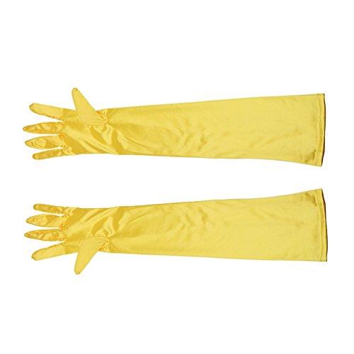 Sexy lange Satinhandschuhe Abendhandschuhe Handschuhe Party Hochzeit - Gelb, One Size (Sexy Lange Handschuhe)