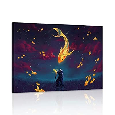RAIN QUEEN 1 Panel Night of Gold Fish Cat Oil Painting on Canvas for Living Room Wall Art Gift Decoration Home Nature Wooden Frame - low-cost UK canvas store.