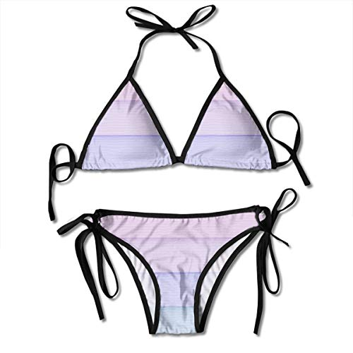 Huyotop Pastel Color Stripes Personalized Women Triangle Two Piece Swimsuit Bikini Sets Adjustable Drawstring Halterneck Top and Tie Sides Micro Thong Sets