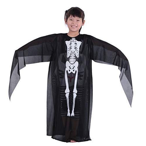 (Kangcheng Halloween Ghost Kostüm Skeleton Kleidung Kinder Erwachsene Unisex Kostüm Kostüme Schädel Kleidung Robe für Cosplay Partei)