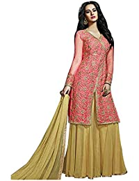 Terramart_Lehanga Set Tomato Pink & Gold Colour Combinated Embroidered Set For Women