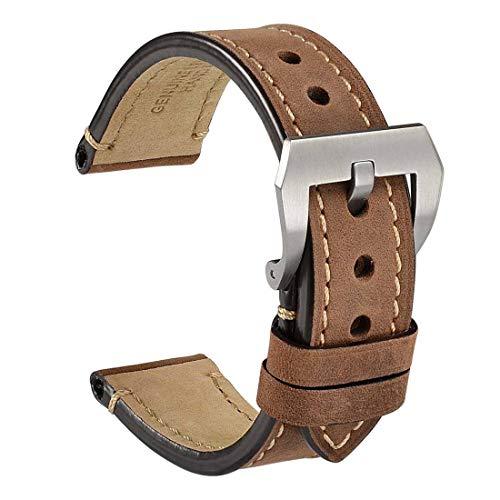 WOCCI Correa Reloj Vintage de Cuero Genuino, Correa de 20mm/22mm/24mm, Ideal para Hombres (Marrón Oscuro)