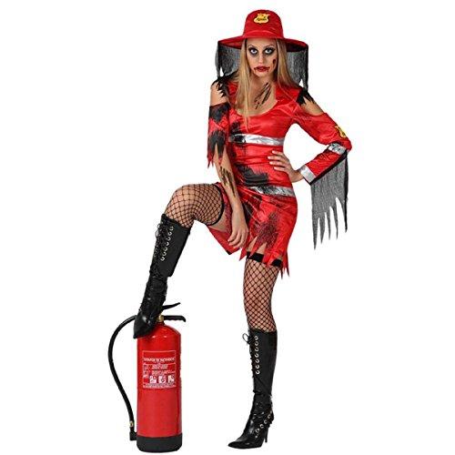 Mela Proibita - Faschingskostüme Frau rot Feuerwehrmann Kleid sexy Halloween Fest Teatro Kleid - rot, ml (Feuerwehrmann Kostüme Frau)