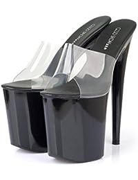 MSFS Sandalias de mujer PVC Plataforma de tacón de aguja Fiesta y Noche Transparente Cristal Espectáculo Tamaño...