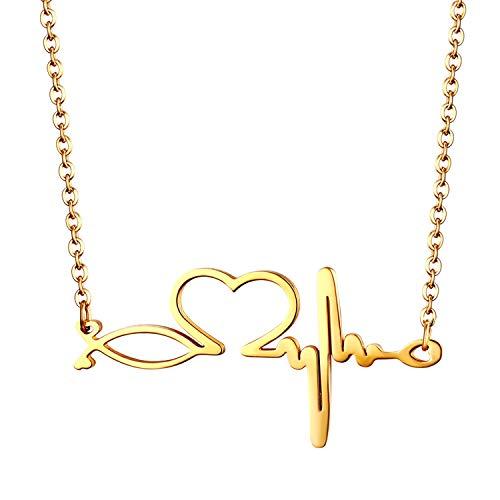 JewelryWe Schmuck Edelstahl Herzschlag Pulse Rhythmus EKG Herzfrequenz Herz Liebe Anhänger mit 50cm Kette, Krankenschwester Arzt Medizinische Stethoskop Halskette für Damen Frau, Gold