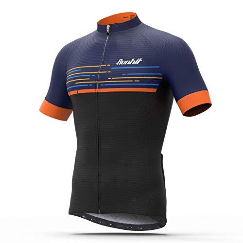 Runhit Herren Radtrikot Kurzarm Biking Shirts Atmungsaktiv Basic Shirts mit Taschen, Herren, schwarz/orange, M (Suitable for Chest 38.5-40 in)