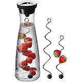 WMF Basic Wasserkaraffe Set 3-teilig, Karaffe 1l mit 2 Fruchtspieße (18 und 24 cm), Glas, Höhe 30,2 cm, Glaskaraffe mit Deckel, Silikondeckel, CloseUp-Verschluss -