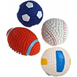 SRI High Quality Combo of 4 Cute Squeaky Rubber Football Toy for Puppy and Cat