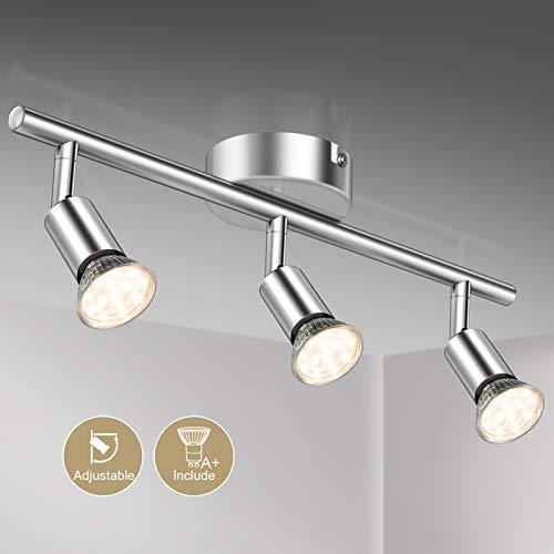 Defurhome LED Deckenleuchte Drehbar, 3 Flammig LED Strahler Deckenlampe Spot,Modern Deckenstrahler (Weißes Chrom) für Küche, Wohnzimmer, Schlafzimmer, inkl. 3 x 4 W GU10 LED Lampen (400LM, warmweiß)