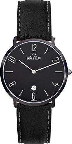 Reloj para hombre Michel Herbelin - 19515/N24 - CITY - Cuarzo - Fecha - Correa de cuero - Negro