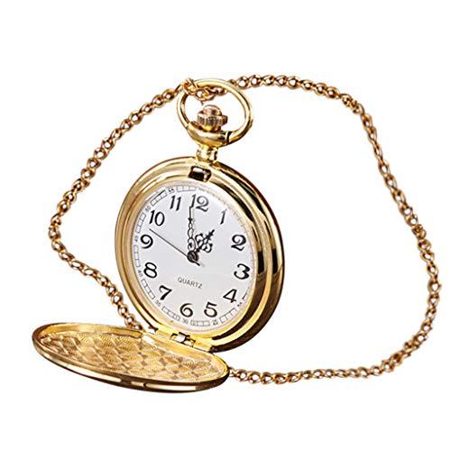 HHyyq Taschenuhr Vintage Herren Damen Uhr Analog mit Metall Kette Weihnachten Geschenk Quarz Kettenuhr Uhren Anhaenger Halskette Geschenk(Gold)