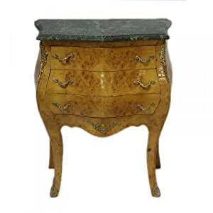 Casa Padrino Baroque Commode avec Plateau Marbre noyer Hauteur 75 cm x 60 cm-table de chevet