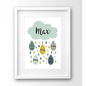 Geburtsanzeige personalisiert A4 ohne Rahmen, Wolke, Geschenk Geburt Taufe Junge, Geburtsdruck