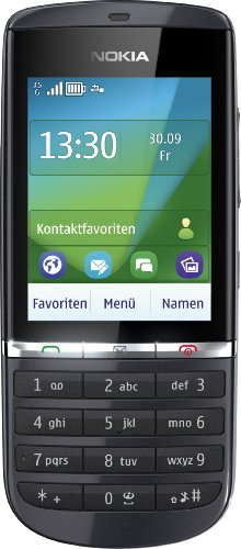 Nokia Asha 300 Handy (6,1 cm (2,4 Zoll) Display, Touchscreen, 5 Megapixel Kamera) Graphite -