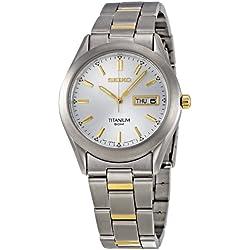 Seiko Men's Quartz Analogue Watch SGG603P1 with Two Tone Titanium Bracelet and White Dial