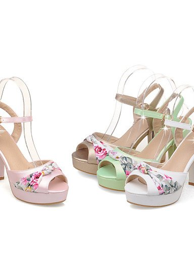 LFNLYX Scarpe Donna-Sandali-Casual-Tacchi / Spuntate-Quadrato-Finta pelle-Verde / Rosa / Bianco / Dorato Pink
