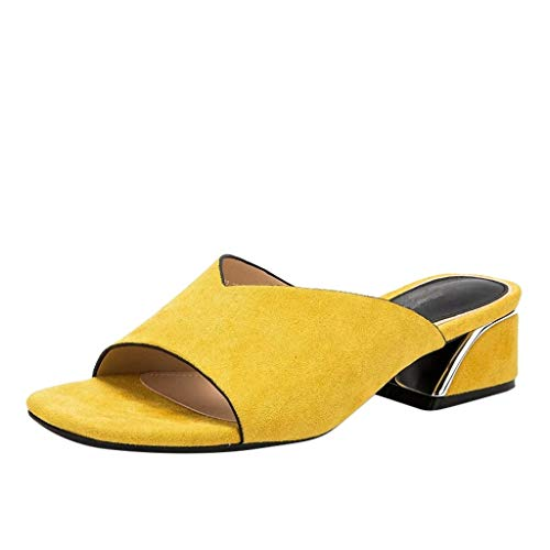 Sandaletten für Damen/Dorical Frauen High Heels Sandalen Plateau Offen Pantoffeln Outdoor Slipper mit 5 cm Absatz Casual Sommer Abend Schuhe Flandell 35-41EU(Gelb,36 EU) (Website High Monster)