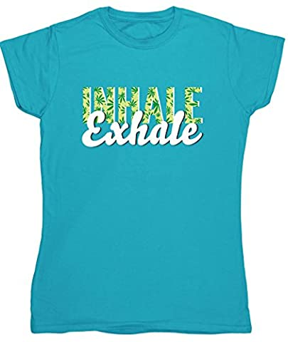 Hippowarehouse Inhale exhale (Green) womens fitted short sleeve