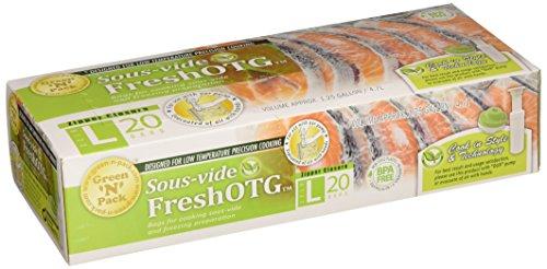FreshOTG Tragbares Vakuum-Gadget Set l Aufbewahren Sie Lebensmittel in Stil & Technologie l Wiederverwenden Sie die Beutel, dass das Essen in l Sous-Vide Kochtaschen geliefert wird Large grün -
