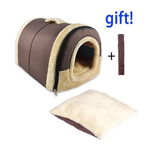 2 In 1 Haustier Haus und Sofa, Maschinenwaschbar Anti-Rutsch Faltbare Weich Warm Hund Katze Hündchen Kaninchen Haustier Nest Höhle Bett Haus mit Abnehmbarem Matratze, 3 Größen -