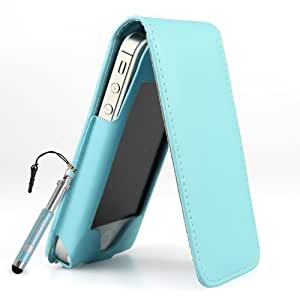 Premium PU Leather Flip Case for Apple iPhone 4S / iPhone 4 - Genuine MadCase® Brand (Light Blue)