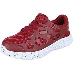 Damen Schuhe, 521, FREIZEITSCHUHE, SNEAKERS TURNSCHUHE, Synthetik in hochwertiger Lederoptik , Weinrot, Gr 40