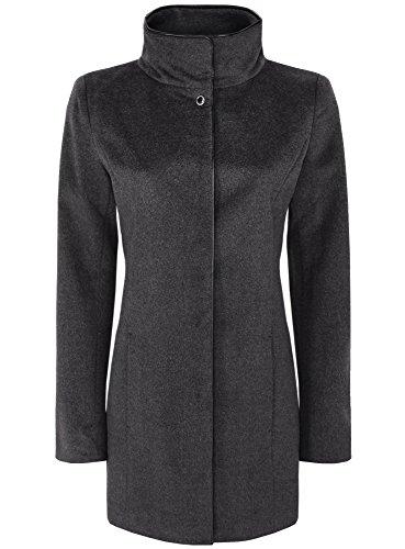 oodji Collection Damen Mantel mit Stehkragen und Kunstlederbesatz Grau (2329B)