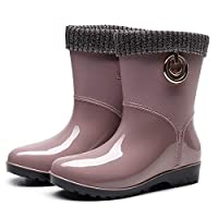 ZWXDMY Wellies,Wellington Ms Pink Round Head Glossy Waterproof Rain Boots Middle Tube Slip Wear-Resistant Ankle Boots Wild Fashion Shoes