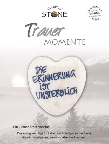 The Art of Stone Trauer Momente Marmorsteinherz Die Erinnerung ist unsterblich Unikat - Hand beschriftet Trauerbegleiter Trost Grabbeigabe