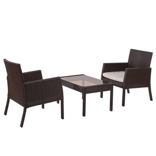 Mendler Poly-Rattan Garten-Garnitur Sitzgruppe Sanremo 2x Sessel + Tisch ~ braun meliert
