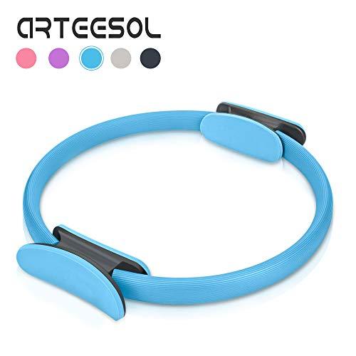 Arteesol Pilates Ring, Doppelgriff Pilates Yoga Ring 15 Zoll / 38cm Dual Grip Magic Übungskreis für Fettverbrennung in Schwarz Lila Blau Grau Rosa Farbe (Blau)