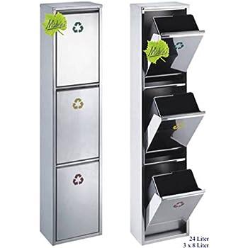 svita edelstahl abfallsammler abfalleimer m lleimer m lltrennung neu 30 liter 2x15l. Black Bedroom Furniture Sets. Home Design Ideas