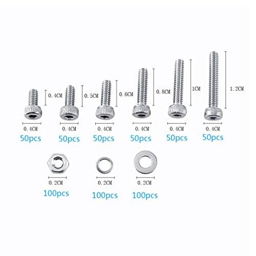 600pcs Schrauben Set Edelstahl M2 Zylinderkopfschrauben Innensechskantschrauben Sechskantmuttern Flache Unterlegscheiben Federringe (12 Flach Typ R)