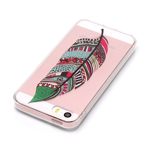Custodia iPhone 5S, iPhone SE Cover Silicone Trasparente, SainCat Cover per iPhone 5/5S/SE Custodia Silicone Morbido, Shock-Absorption Custodia Ultra Slim Transparent Silicone Case Ultra Sottile Morbi Piume Verdi
