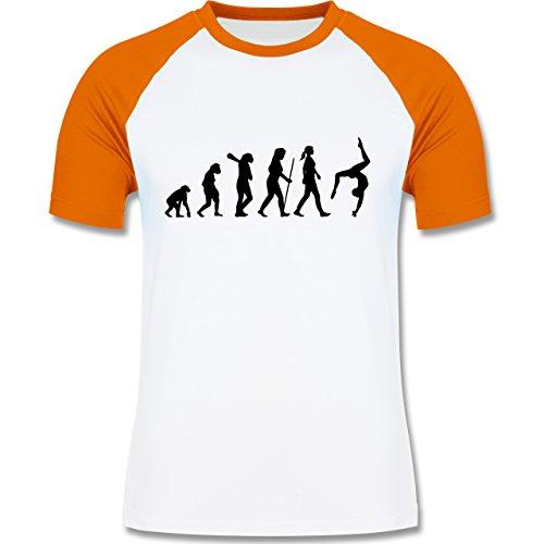Evolution - Turnen Evolution - zweifarbiges Baseballshirt für Männer Weiß/Orange