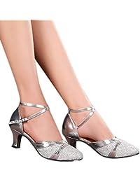 Generico 1 par Mujer Zapatos Tacon De Salsa Bachata Latinos Baile Sandalias Latin Shoe Beige 37 Mujer Zapatos Tacon