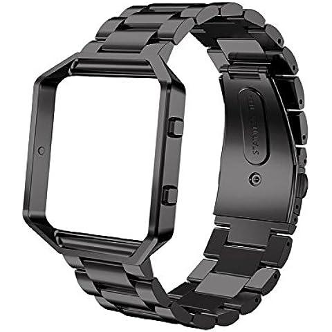 Malloom Reloj de acero inoxidable correa de la venda + Marco del metal para Fitbit Blaze reloj (negro)