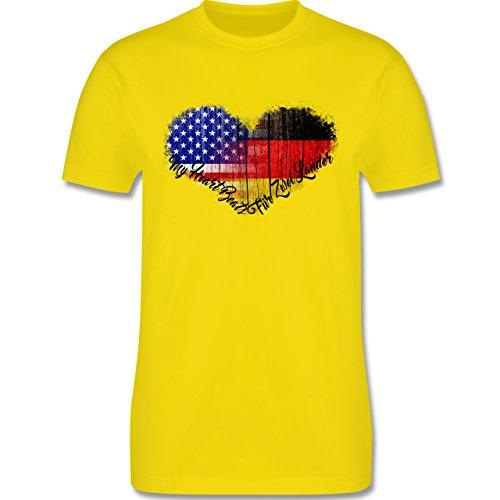 Flaggen - Deutsch-Amerikanische-Flagge-Herz - L190 Herren Premium Rundhals T-Shirt Lemon Gelb